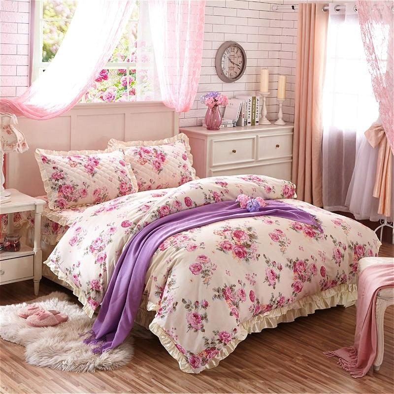 romantic flowers 100 cotton bedding set shabby pink rose floral print vintage ruffles duvet cover set bedspread pillow shams