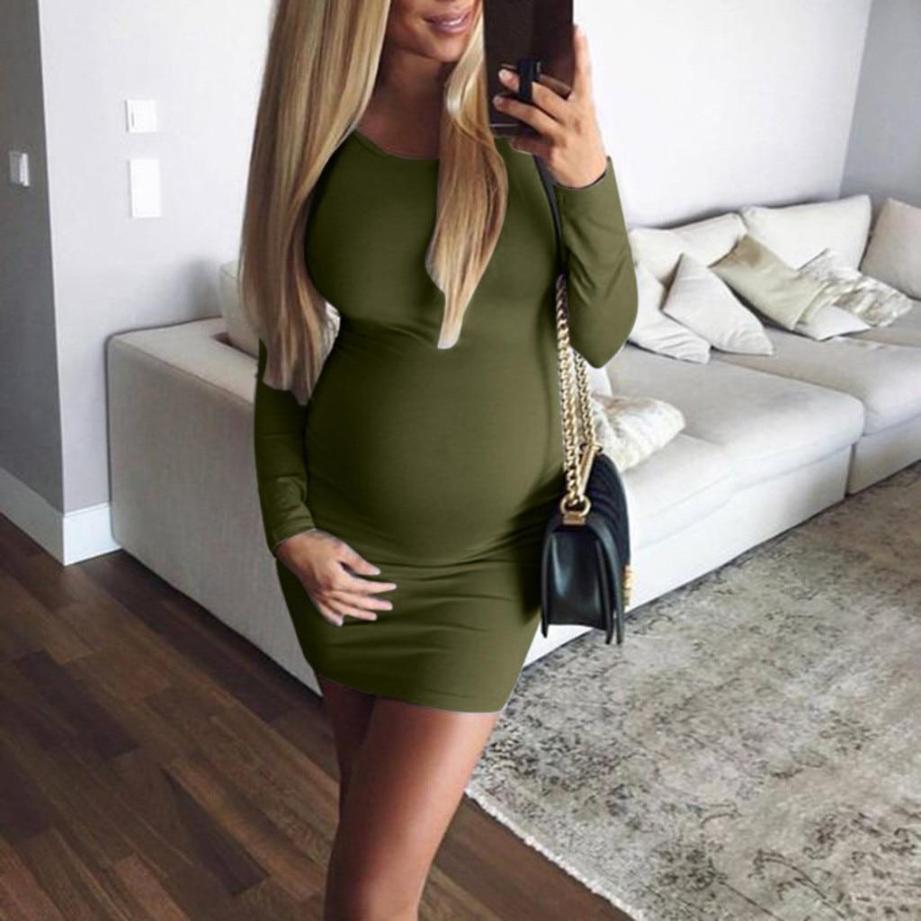Maternity Dresses Solid O-neck Clothes For Pregnant Women Full Sleeve Above Knee Dress For Pregnant Women Zwangerschaps Kleding