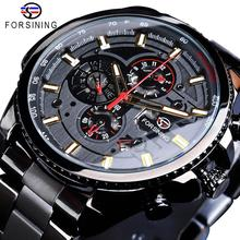 Forsining 古典的な黒時計スチームパンクシリーズ完全なカレンダーメンズスポーツメカニカル腕時計トップブランドの高級 2019