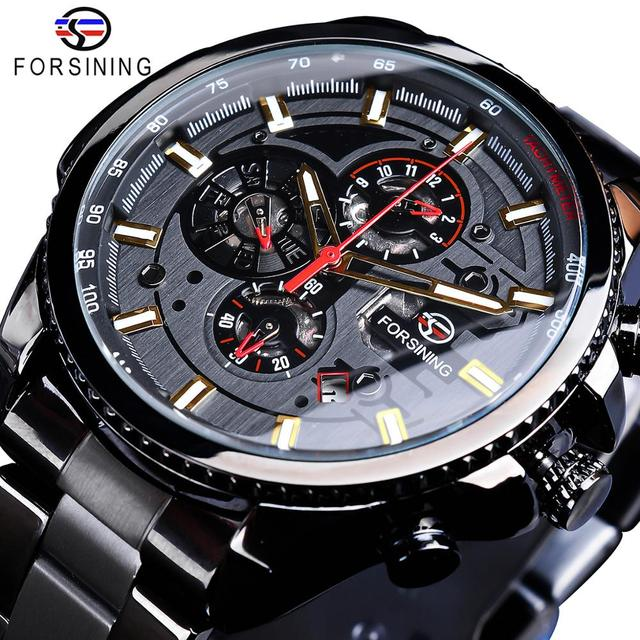 Forsining 2019 Classic Black Clock Steampunk Series Complete Calendar Mens Sport Mechanical Automatic Watches Top Brand Luxury
