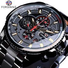 Forsining 2019 clássico relógio preto série steampunk calendário completo esporte masculino mecânica relógios automáticos marca superior de luxo