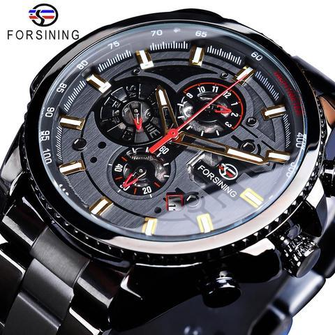Superior de Luxo Forsining Clássico Relógio Preto Série Steampunk Calendário Completo Esporte Masculino Mecânica Relógios Automáticos Marca 2020 Mod. 115391
