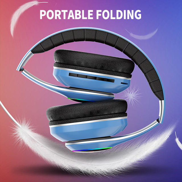 WIFI headphone 20H Playtime Foldable LED Light stereo gaming 6 equalizer modes