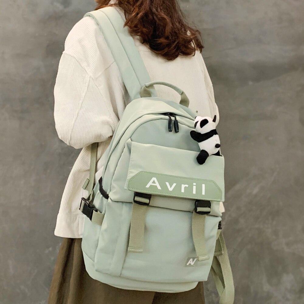 Women Nylon Waterproof Backpack Cute Student School Bag Girl Kawaii Backpack Fashion Laptop Female Book Bag Buckle Ladies Luxury