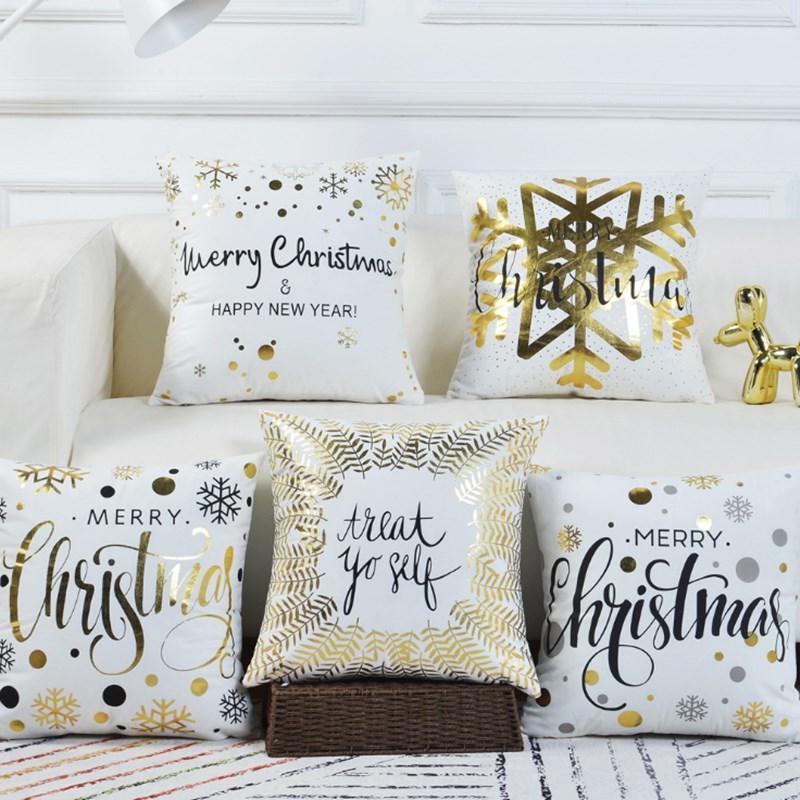 45x45 cm/17,72x17,72 funda de cojín de Navidad algodón poliéster decorativo Año Nuevo funda de almohada sofá abrazo almohada