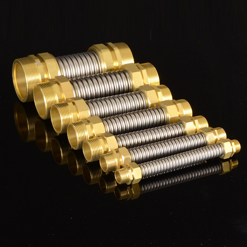1/2 3/4 Copper Connection Corrugated Flexible Pipes Hot Cold Water 304 Steel Supply Hose High Quality Metal Tubing Fittings