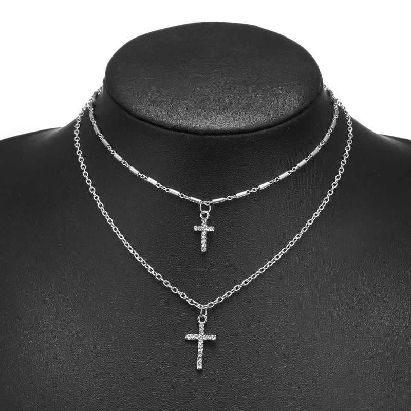 Религиозный горный хрусталь ожерелье с крестом панк двухслойная цепочка ожерелье мужские и женские модные ювелирные изделия дропшиппинг
