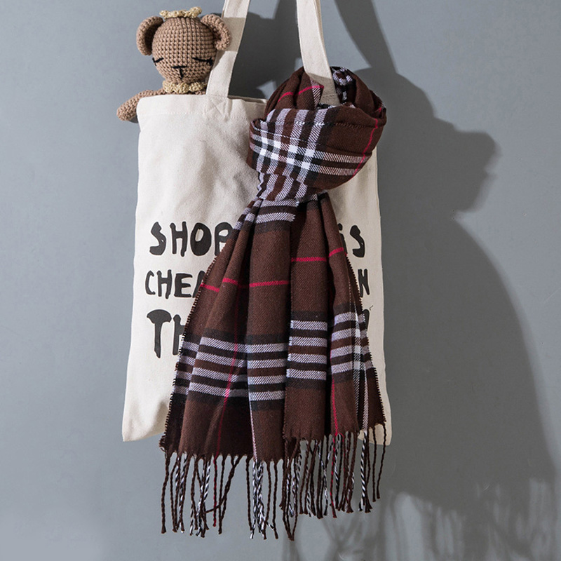Autumn And Winter Children's Scarf Stripe Plaid Warm Imitation Cashmere Soft Scarf Boys And Girls Fashion Scarf