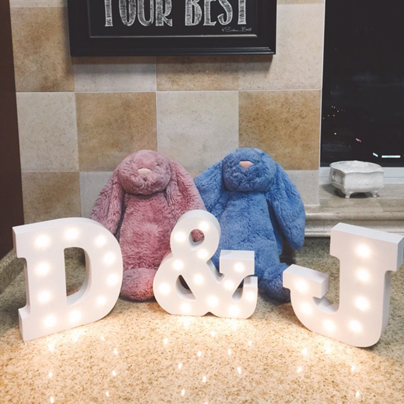 Alphabet Lights Lamp White Plastic Letter LED Night Light Marquee Sign Home Culb Outdoor Indoor Wall Decoration