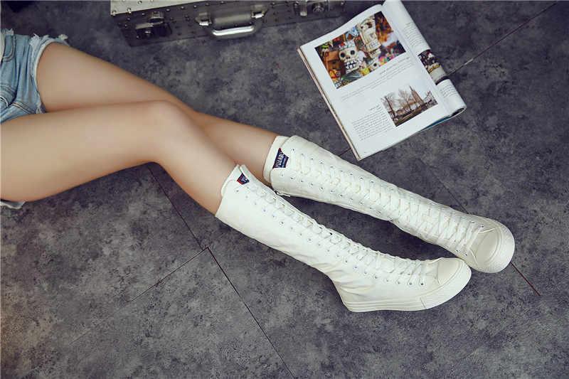 2019 Nieuwe Herfst Winter Laarzen Vrouwen Schoenen Hoge Top Schoenen Lange Laarzen Kruis Gebonden Over De Knie Laarzen Comfortabele Canvas vrouwen Laarzen