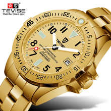 лучшая цена Top Fashion Brand TEVISE Automatic Mechanical Watches Men Gold Stainless Steel Date Waterproof Wrist Watch Man Relogio Masculino