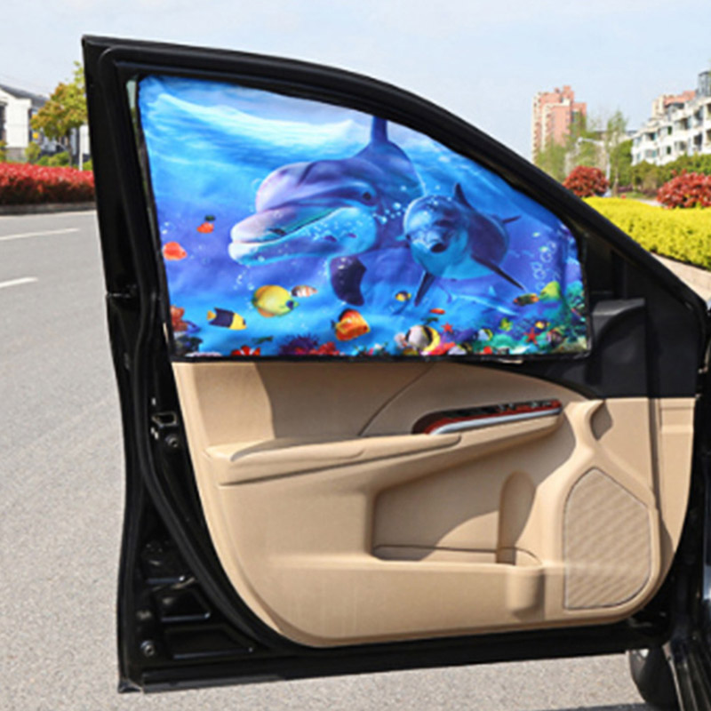 Kid Curtain Car Side Glass Sun Shade Cover Cartoon Baby Children Sunscreen Heat Shield Magnetic Sunshades Car Curtain 1