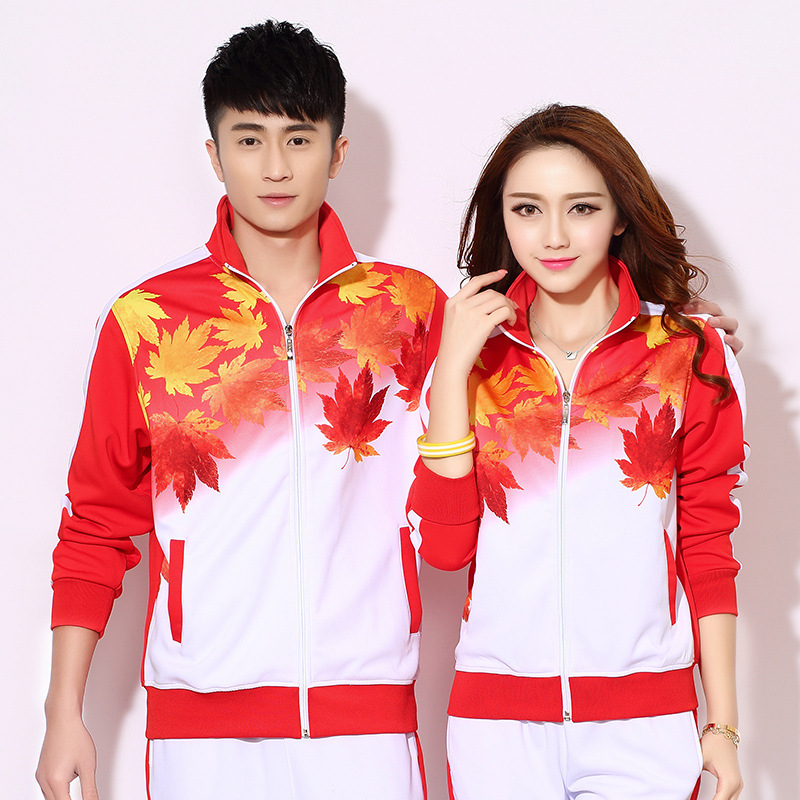 Jin Crown Maple Leaf Spring And Autumn Middle-aged Sports Clothing Set Large Size Men And Women Sports Clothing Jiamusi Square D