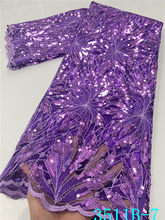 NIAI – tissu nigérian en dentelle pour robe, Tulle, maille, paillettes, meilleure vente, XY3511B-7