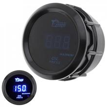1pcs Black  Durable 2 Inch 52MM 12V 1~120PSI Digital Blue LED Electronic  Oil Press Pressure PSI Gauge with Oil Pressure Sensor