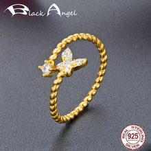 925 Sterling Silver Charm Flying Butterfly Open Rings for Women Gold Color Fine Jewelry Wedding Bride Gift недорого