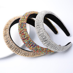 2020 Colorful Bling Bling Rhinestones Headbands For Womens Luxury Shiny Padded Diamond Crystal Hair Bands Party Hair Accessories