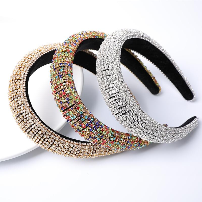 2020 coloré Bling Bling strass bandeaux pour femmes luxe brillant rembourré diamant cristal bandes de cheveux fête cheveux accessoires