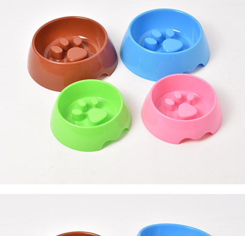 Cute Paw Dog Bowl Plastic Anti Choke Slow Feeder Pet Food Bowls For Cat Water Drinking Products For Dogs Silicone Container 14