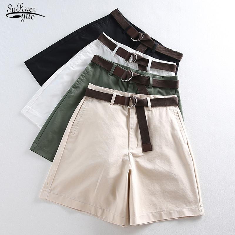 2020 Women Wide Leg Shorts Casual Female A-line Solid Shorts With Belt Feminino Women Summer Shorts  Loose High Waist 7411 50
