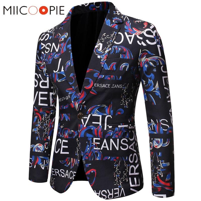 Floral Men Blazer New Brand Letter Printed Blazer Masculino Casual Slim Fit Business Formal Black Mens Suit Jacket Streetwear