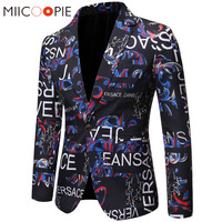 Floral Men Blazer New Brand Letter Printed Blazer Masculino Casual Slim Fit Business Formal Black Mens Suit Jacket Streetwear