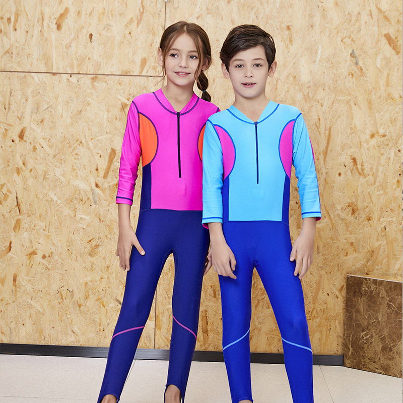 KID'S Swimwear GIRL'S BOY'S Big Boy Quick-Dry One-piece Sun-resistant Long Sleeve Trousers Baby Waterproof Mother Diving Suit