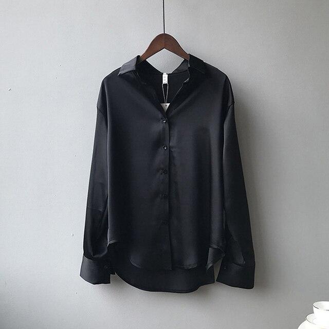Autumn Fashion Button Up Satin Silk Shirt Vintage Blouse Women White Lady Long Sleeves Female Loose Street Shirts 11355 6