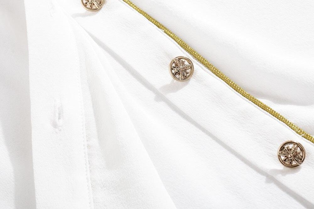Chemise en soie femmes 2019 automne dames mode couleur unie col rabattu simple boutonnage poignet longueur manches chemise blanche S XXL - 6