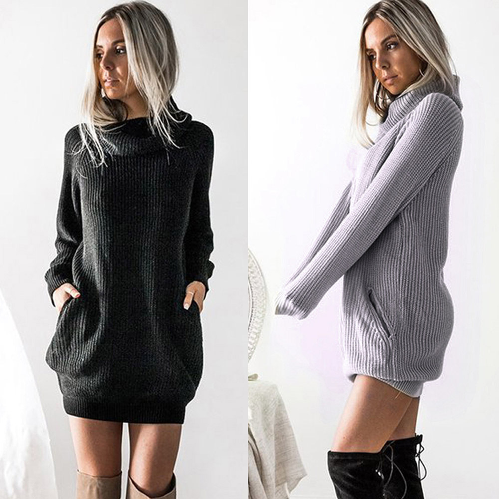 S-5XL Plus Size Winter Dress Women Long Sleeve Knit Turtleneck Sweater Dress Casual Ladies Mini Dress Autumn Women Clothing 2019