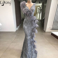 Elegant Gray Lace Mermaid Evening Dress 2020 Long V Neck Feathers Formal Prom Dresses Turkey Robe de soiree Women Party Gown