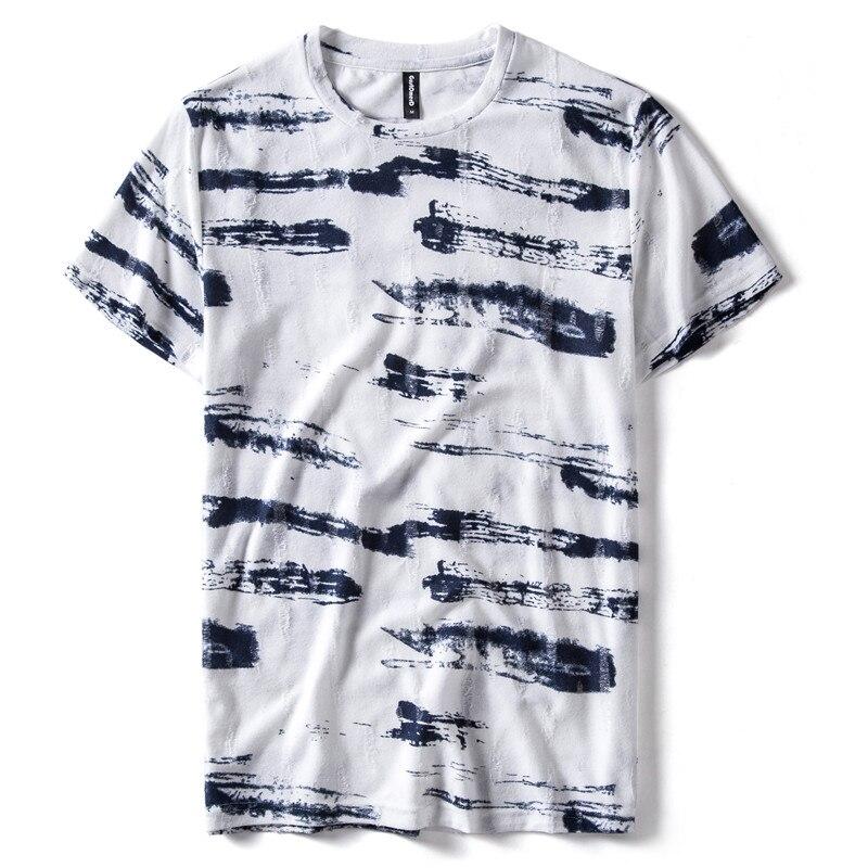 Summer 2020 New Design Hole 100% Cotton T Shirt Men Casual Streetwear Short Sleeve Shirt Men High Quality Print Mens T-shirt