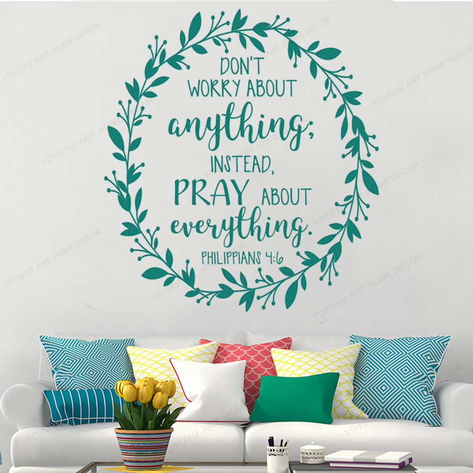 Bible Quote Philippians 4:6 art Mural home Bedroom Decoration Don't worry about anything wall sticker HJ1017 image