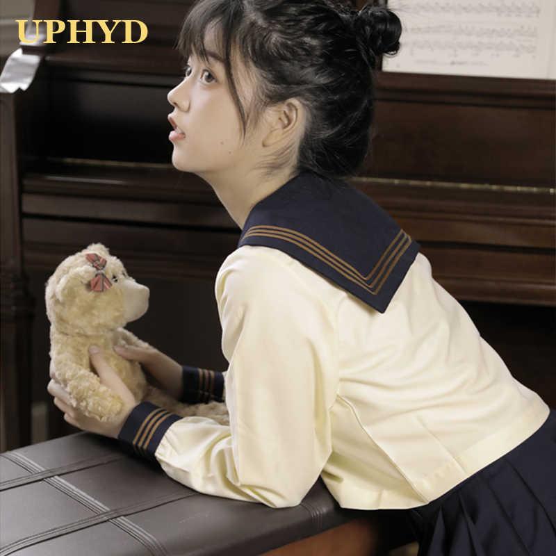 Academische Stijl Meisje School Uniform Licht Geel Tops Geplooide Rok Vest Sets Japanse Sailor Uniformen