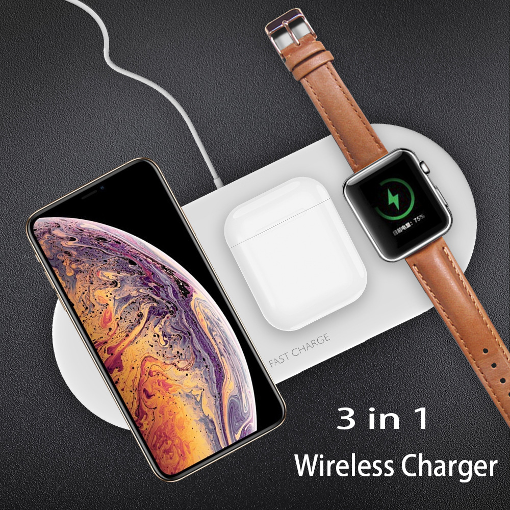 3 in <font><b>1</b></font> Wireless Charger For Apple watch <font><b>5</b></font> 4 Fast Charging For <font><b>iPhone</b></font> 11/11Pro/X/XS/8 for Apple Watch Series <font><b>5</b></font> 4 3 Airpods <font><b>1</b></font> 2 image