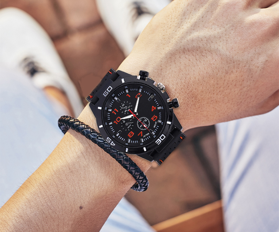 Reloj de cuarzo de goma de marca de lujo 2019 para hombre, relojes deportivos militares, relojes de pulsera de moda, de tres ojos reloj de pulsera, reloj masculino Relojes de Acero para hombre, reloj de cuarzo de lujo para hombre, reloj de pulsera de 50m para hombre, para deportes acuáticos, 2017, reloj masculino