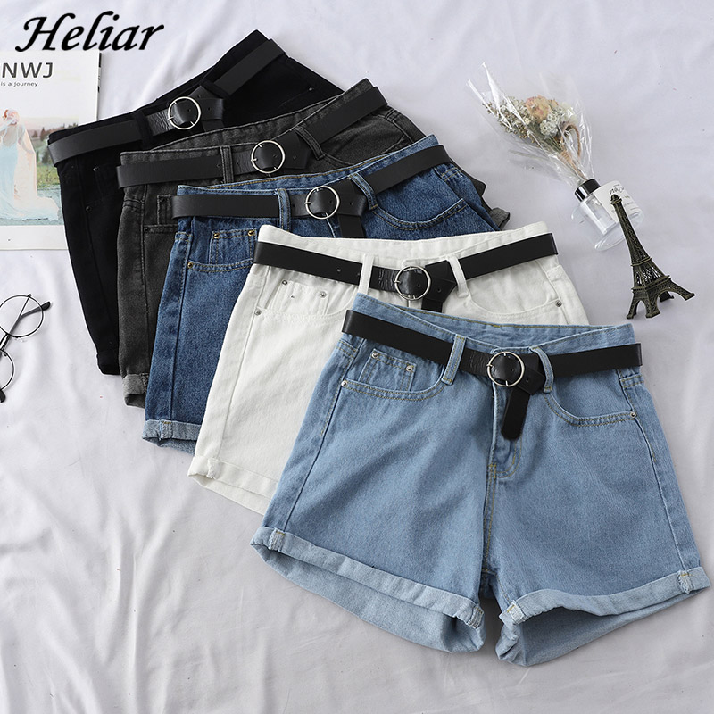 HELIAR 2020 Spring Women Shorts Femenino Bodycon Jean Shorts Girl Student Jeans Shorts Waistband Skinny Denim Hot Shorts