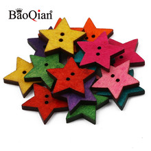 Natural Wooden 50pcs 18mm Star Shape 2 Hole Buttons Handmade Clothing Decoration Scrapbook Diy Home Sewing Crafts Accessories