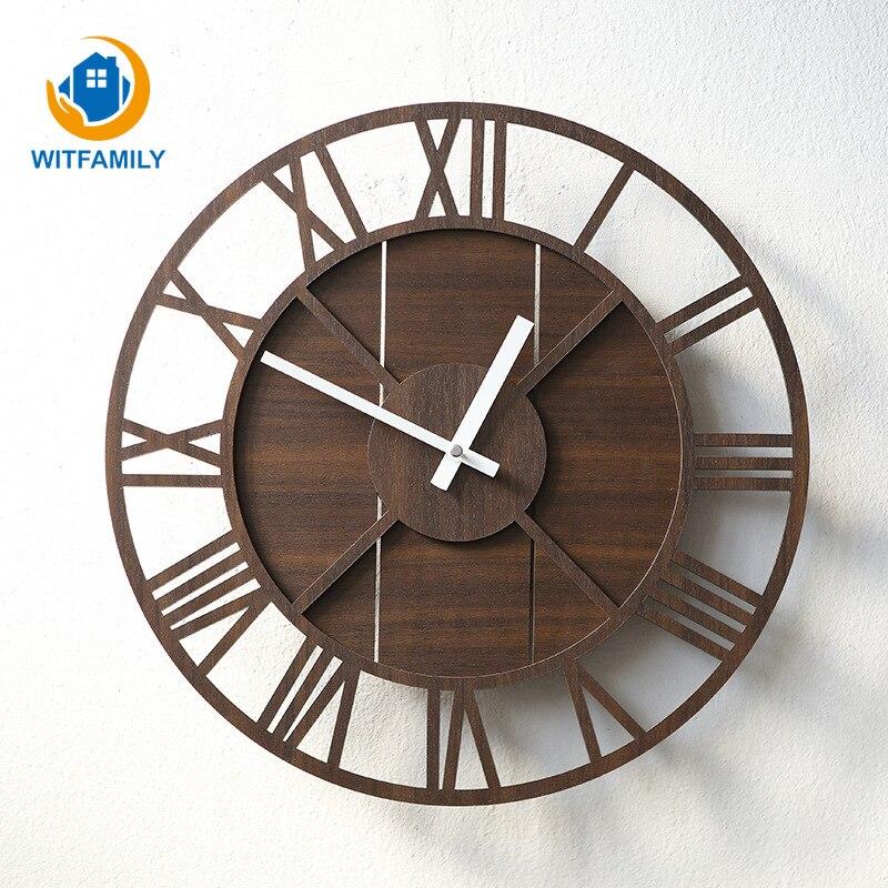 Salon Simple muet Style européen rétro horloge murale Rural en bois personnalisé Simple mode créative minimaliste horloge