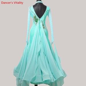 Image 2 - 女性ワルツダンス着用裾刺繍ダイヤモンドスプライシングドレス社交国家標準ジャズ、モダンダンスステージ衣装