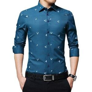 Image 1 - BROWON 2020 новые мужские рубашки с принтом Argyle жаккардовая деловая рубашка для мужчин с длинным рукавом, обычная посадка, нежелезный корейский стиль