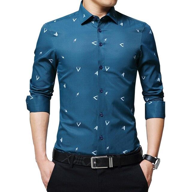 BROWON 2020 новые мужские рубашки с принтом Argyle жаккардовая деловая рубашка для мужчин с длинным рукавом, обычная посадка, нежелезный корейский стиль
