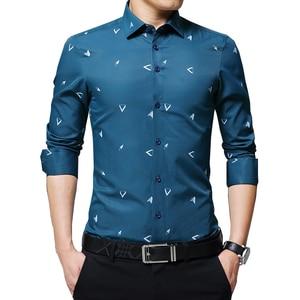 Image 1 - BROWON 2020 New Mens Shirts Argyle Print Jacquard Business Shirt Men Long Sleeve Regular Fit Non iron Korean Style
