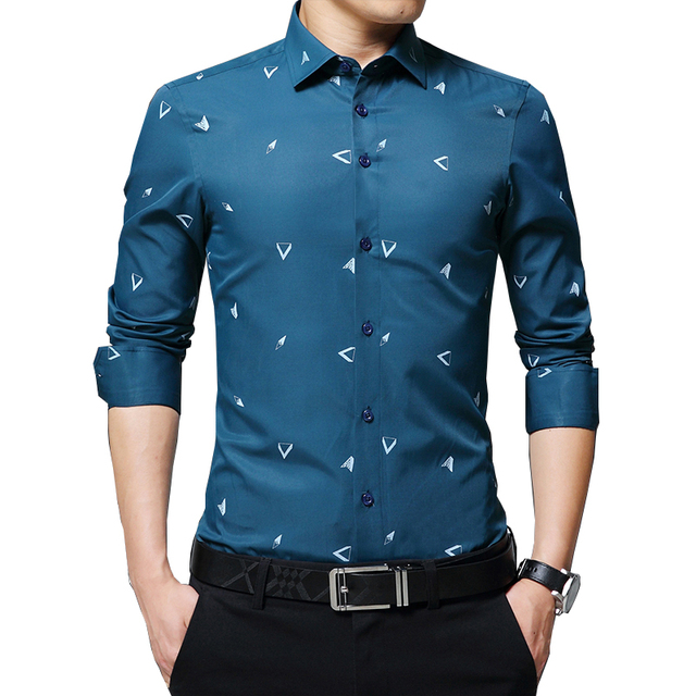 BROWON 2020 New Mens Shirts Argyle Print Jacquard Business Shirt Men Long Sleeve Regular Fit Non iron Korean Style