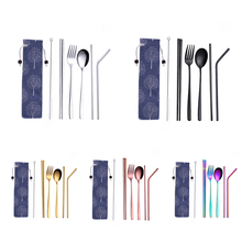 Stainless Steel Creative Titanium-Plated Environment-Friendly Portable Tableware 304 Stainless Steel Spoon Chopsticks Set Suctio