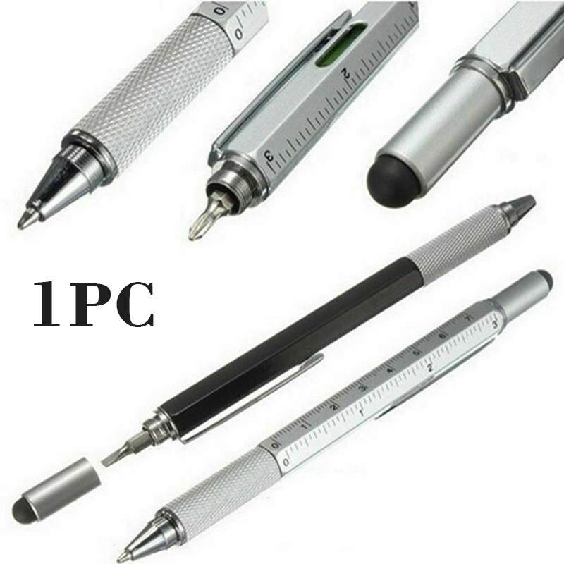 6-in-1 Multi Tool Ballpoint Pen Length 14cm Construction Spirit Level Screwdriver Ruler With Capacitor Ballpoint  Pen Tools