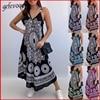 Summer Vintage Elegant Print V-neck Sleeveless Beach Party Long Dress 2021 Women Dresses Vestidos De Verano Casual Boho Sundress 1