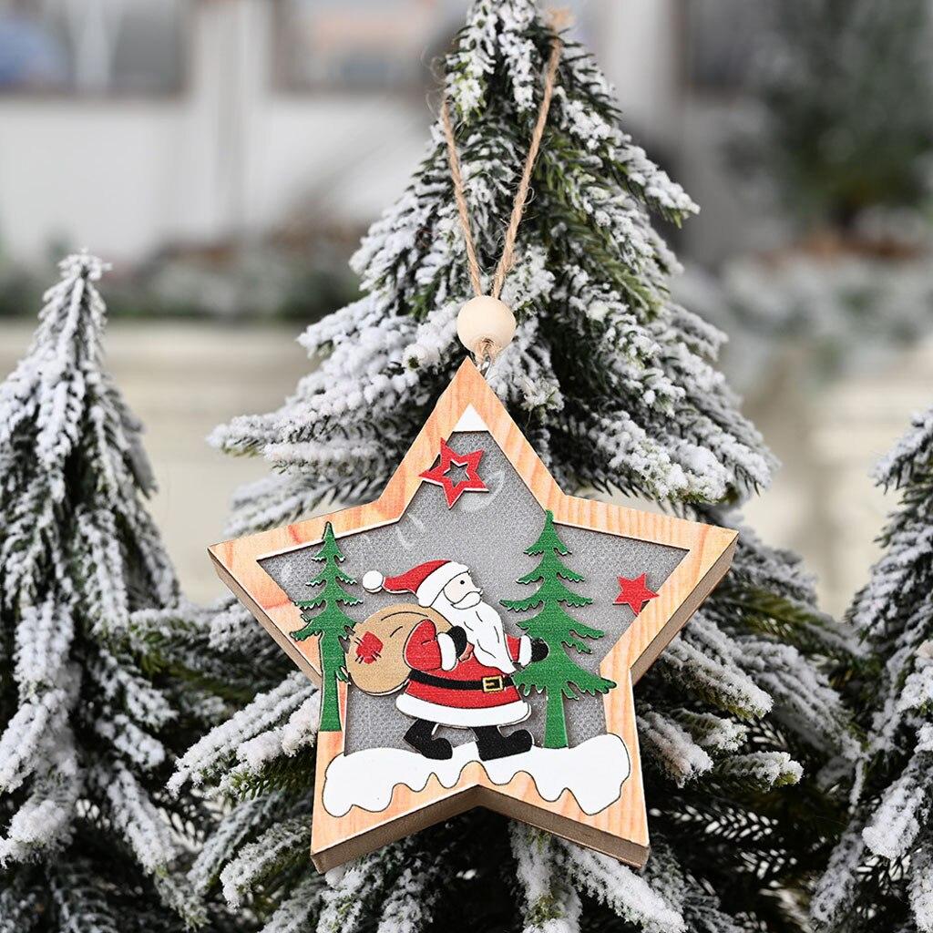 Christmas Decor Wooden Ornament LED Light Santa Claus Deer Cart Luminous Lamp UK