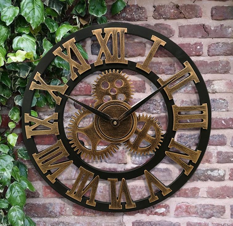 30-80cm American Wooden 3D Retro Gear Roman Clock Wall Clock Modern Design Living Room Cafe Quiet Decorative Quartz Clock