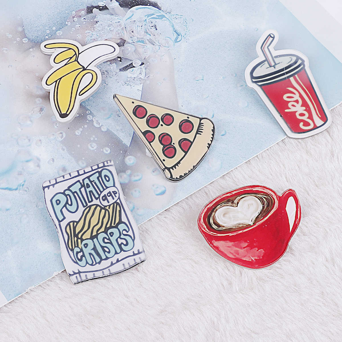 1pc koreański ulzzang piękny Cartoon akrylowe plakietki szpilki na ubrania plecak Banana Coke Lemon Pizza Coffe dekorowanie broszka